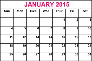 January 2015 Calendar image